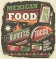 Mexican restaurant funky menu design concept vector image