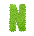 Uppecase letter N consisting of green leaves vector image