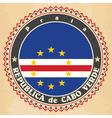 Vintage label cards of Cape Verde flag vector image