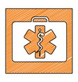color pencil drawing square frame with first aid vector image