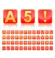 Alphabet in red small squares vector image