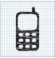 Cell Phone Icon with pen effect on paper vector image