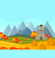 contryside autumn season with mountains background vector image