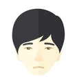 Face of a sad japanese guy vector image