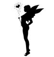 Love fairy silhouette vector image