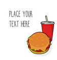 Template with burger and red soda cup vector image
