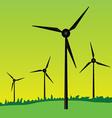 windmills on green grass vector image