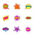 trendy pop art label icons set cartoon style vector image