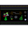 Borders and patterns on the Christmas theme vector image vector image