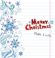 Winter Doodles with snowflakes Christmas card vector image