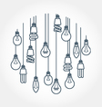 Circle of light bulb hanging on cords vector image