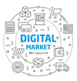 digital market linear slide for the vector image