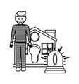 Isolated house alarm and thief design vector image