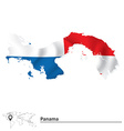 Map of Panama with flag vector image