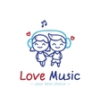 sketch style girl and boy in headphones vector image