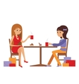Two beautiful women talking at coffee shop while vector image