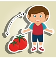 boy cartoon tomato vegetable health vector image