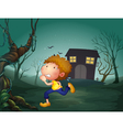 A boy running in the middle of the night vector image