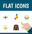 flat icon fiber set of cotton hosiery flower and vector image
