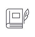 book with penliterature line icon sign vector image