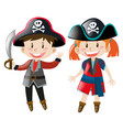 boy and girl in pirate costume vector image