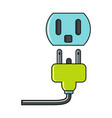cartoon plug and socket icon on white background vector image