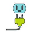 cartoon plug and socket icon on white background vector image