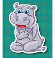 Cute hippo sitting on floor vector image