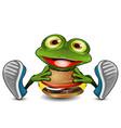 frog eats cheeseburger vector image