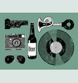 grunge set of retro things for hipster vector image