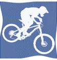 silhouette of bicyclist on blue background vector image