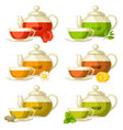 types of tea set of glass cups and kettles with vector image