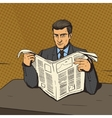 Man reading newspaper pop art vector image