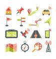 navigation icons set for car navigator map vector image