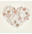 floral vintage heart shape vector image vector image