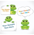 Funny Cartoon Dragon or Frog with Blank Banners vector image vector image