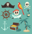 cute pirate set objects collection vector image