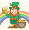 Cute Saint Patricks Leprechaun in top-hat vector image