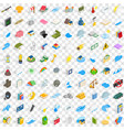 100 force icons set isometric 3d style vector image