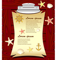 Marine frame with anchor wheel shells starfishes vector image vector image