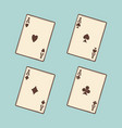 vintage black four aces cards vector image