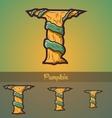 Halloween decorative alphabet - T letter vector image