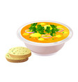 ceramic bowl of soup with bread vector image