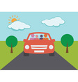 Family in car on vacation vector image