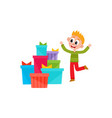 flat boy dancing near present boxes pile vector image