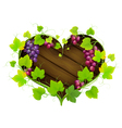Grapes with leaves in the form of heart vector image