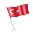 turkish flag on the flagstaff vector image