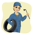 working woman in car repair service holding tyre vector image