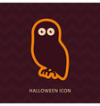 Halloween owl silhouette icon vector image