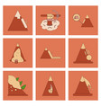 assembly flat icons mountains snow avalanche vector image